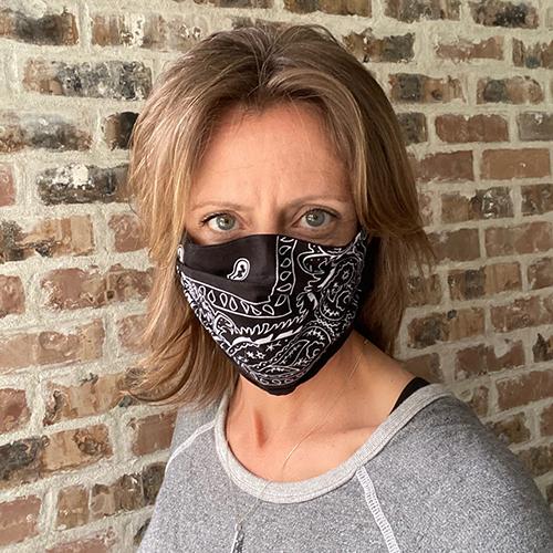 Liz in a mask